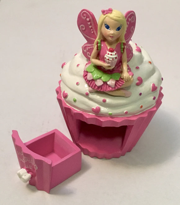 Pink Fairy Cup cake Tooth Chest Trinket Box