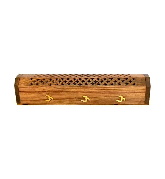 2 x 30 cm OM Wooden Box Incense Holder for Cones and Sticks