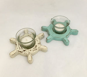 Ships Wheel Tea Light Candle Holder - Blue or Cream