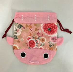 Japanese Kimono Fabric Cosmetic Koi Medium Purse Kinchaku - Pink Fish Bag