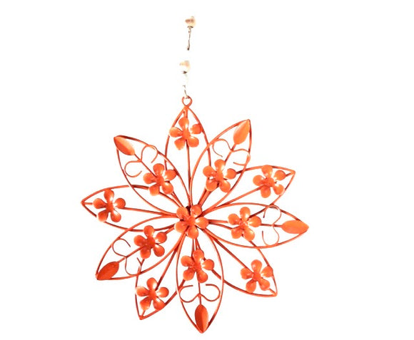 Hanging Metal Flower Orange