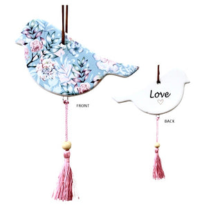 Ceramic Hanging Bird Light Blue With Pink Tassels - Love