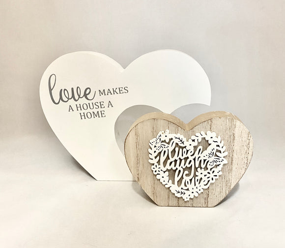 "Double Love Heart White/Natural Wooden Sign/Decoration ""Love Makes a House a Home"" ~ Live Love Laugh"