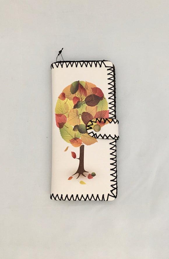 Autumn Tree Design PU Leather Wallet with Cream Background
