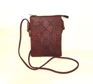 Wine Red Criss-cross Flower Clutch PU Leather Shoulder Bag