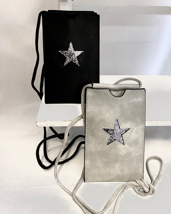 Star Shimmer Black/Silver Clutch PU Leather Shoulder Bag