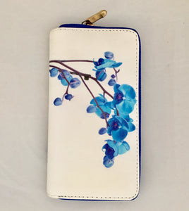Cream with Blue Sweet Pea Design PU Leather Wallet
