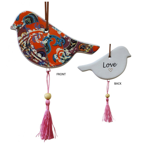 Ceramic Hanging Bird Multi Colour With Pink Tassels - Love