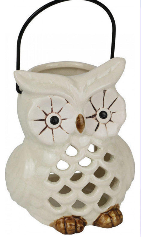 Votive Owl Tea Light Holder White
