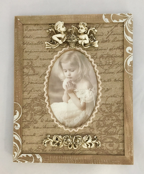 Vintage Look rectangular frame with material and cherub decoration