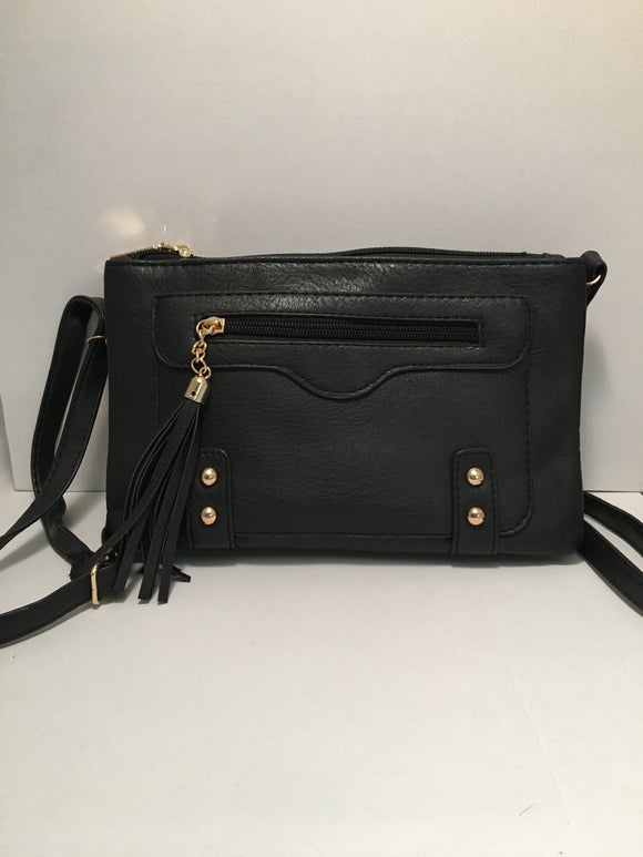 Black PU Leather Handbag with Tassels and Gold Accents