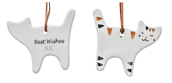 Ceramic Hanging Cat Gift Tag - Best Wishes