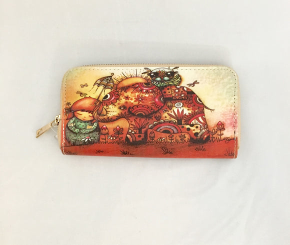 Sunset Elephant Design PU Leather Wallet