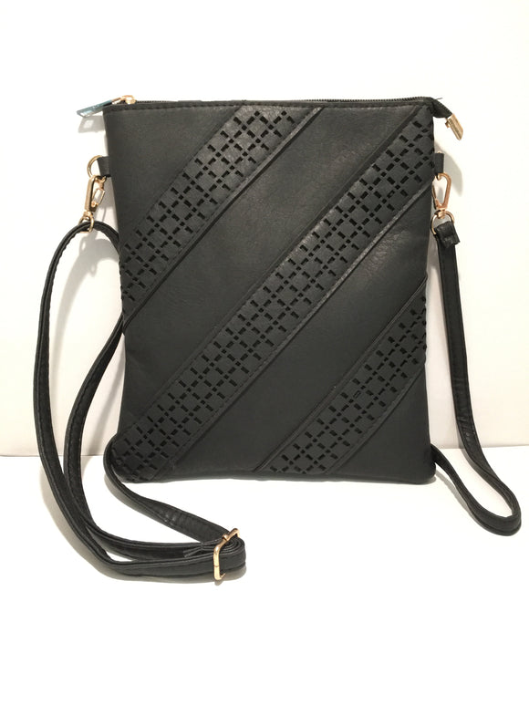 Black Pierced Detailed Clutch Carry PU Leather Bag