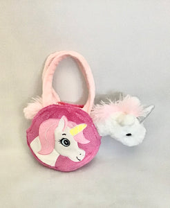 Unicorn in Bag Plush Pink/Purple