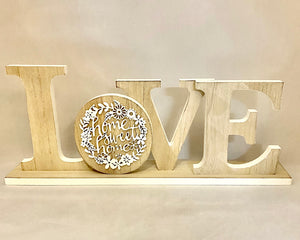 "Extra large Love Sign Decor White/Natural Table Top Letter Wooden ""Home Sweet Home"""