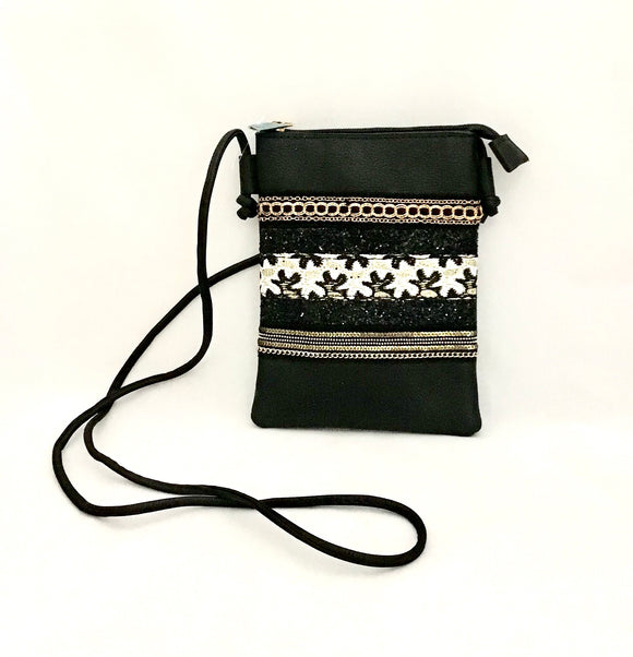 Black Small Carry PU Leather Bag with Material and Chain Detail
