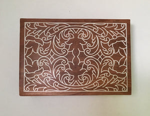 Engraved Wooden Jewelry Trinket Box