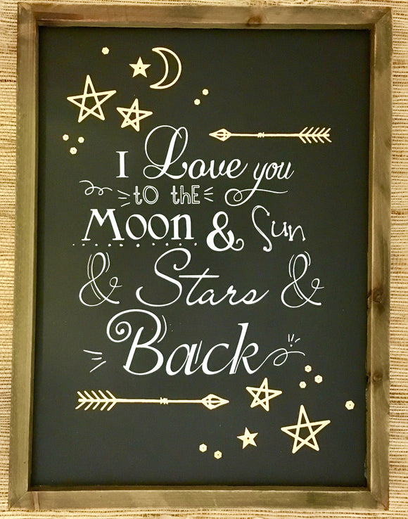 I Love You To The Moon & Sun & Star & Back Wall Sign