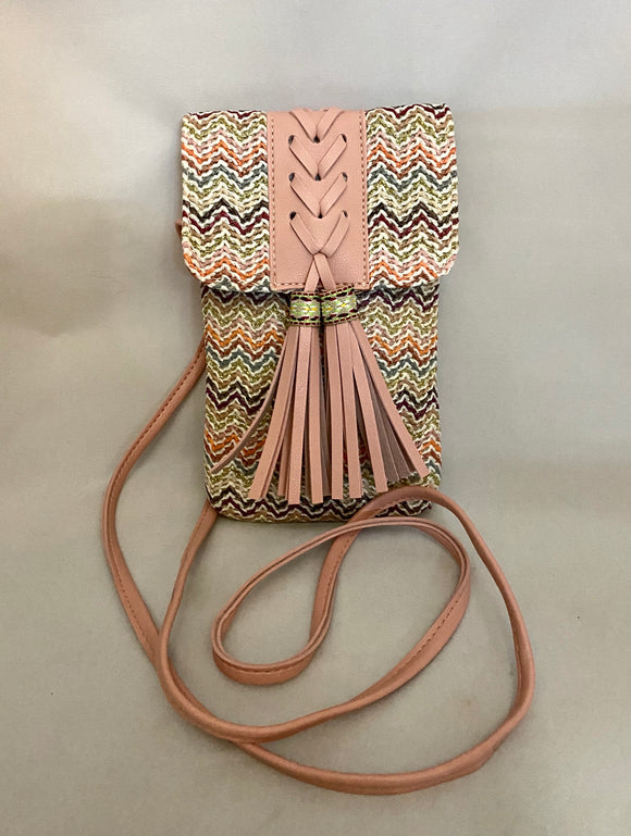 Multicolored Embroidery Tassel Fabric Clutch Shoulder Bag