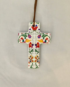 Ceramic Hanging Cross - Colourful Pattern Folk