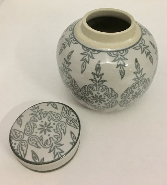 Earthy Grey Patterned Porcelain Storage Jar With Lid
