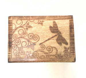 Dragonfly Carved Wooden Jewelry Trinket Box