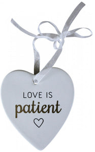 Ceramic Hanging Heart - Love Is Patient
