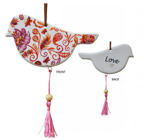 Ceramic Hanging Bird Red/Orange/Purple With Pink Tassels - Love