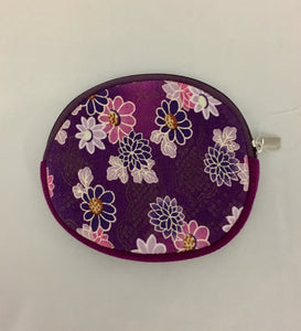 Oval Purple Design Kimono Fabric Coin Purse