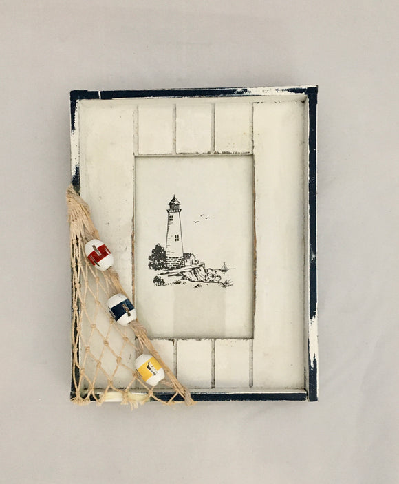 Wooden Lighthouse Photo Frame with Bouy and Net Accents