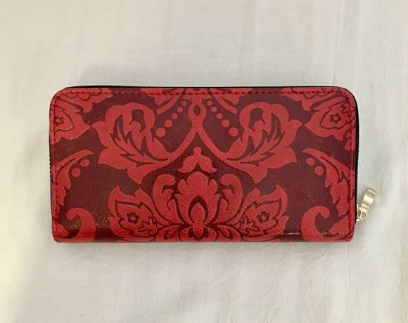 Red Embossed Paisley Pattern PU Leather Wallet