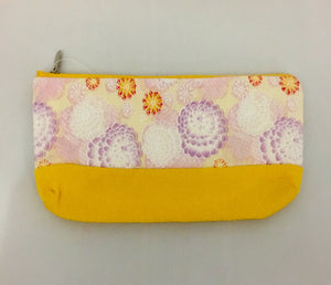 Yellow Design Kimono Fabric Purse/Pen Case/Make-up Bag