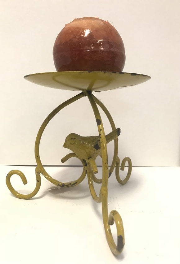 Yellow Bird Large Single Candle Holder/Tray