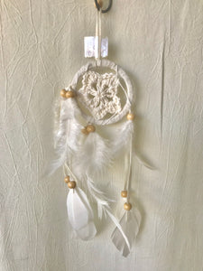 Extra Small  White Crochet Feathers Dream Catcher