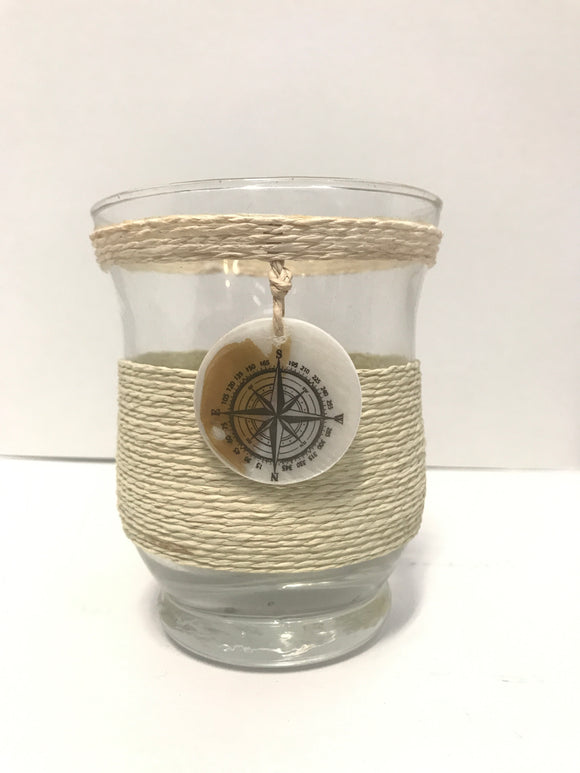 Glass and String Maritime themed jar vase or candle holder