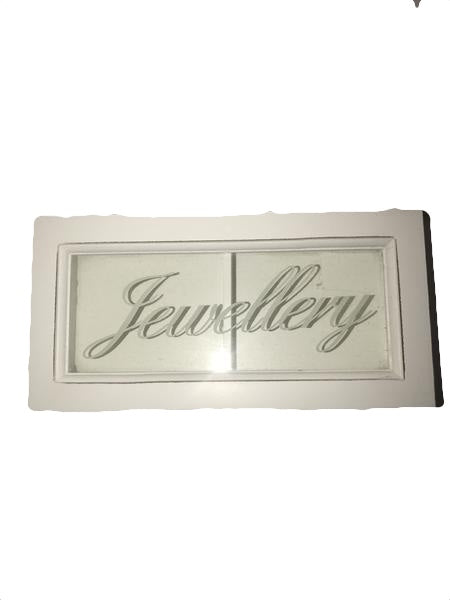 White Wooden Jewelry Trinket Box With Glass Lid.