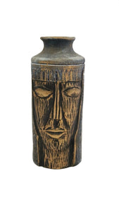 Middle Eastern Blue and Gold Black Ceramic Decorative Vase with Face