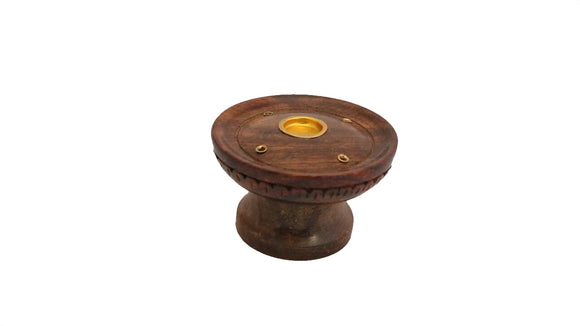 Round Wooden Incense Holder for Cones and Sticks