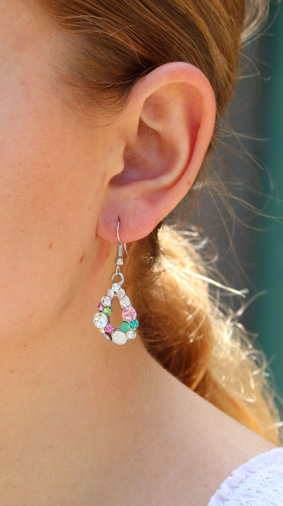 Multi Coloured Diamante Nickel Free Drop Earrings
