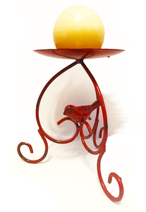 Red Bird Large Single Candle Holder/Tray