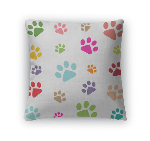 Throw Pillow, Colored Pattern With Paw Prints - Bizzy Lizzy