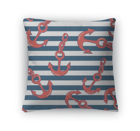 Throw Pillow, Wallpaper With Sea Anchors - Bizzy Lizzy
