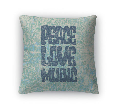 Throw Pillow, Retro Design Of Peace Love And Music - Bizzy Lizzy