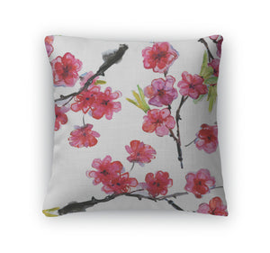 Throw Pillow, Cherry And Plums Flowers - Bizzy Lizzy