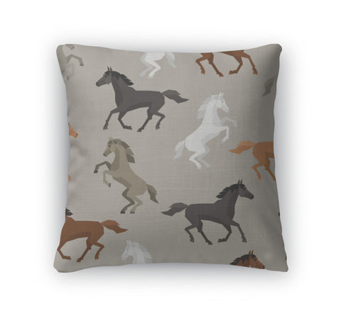 Throw Pillow, Pattern With Horse In Flat Style - Bizzy Lizzy