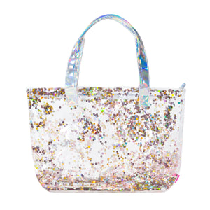 "Girls Multi-Use Double Layer PVC Fashion Tote – Filled with Sparkling Confetti – Large 20"" x 14"" Size – 2 Styles - Bizzy Lizzy"