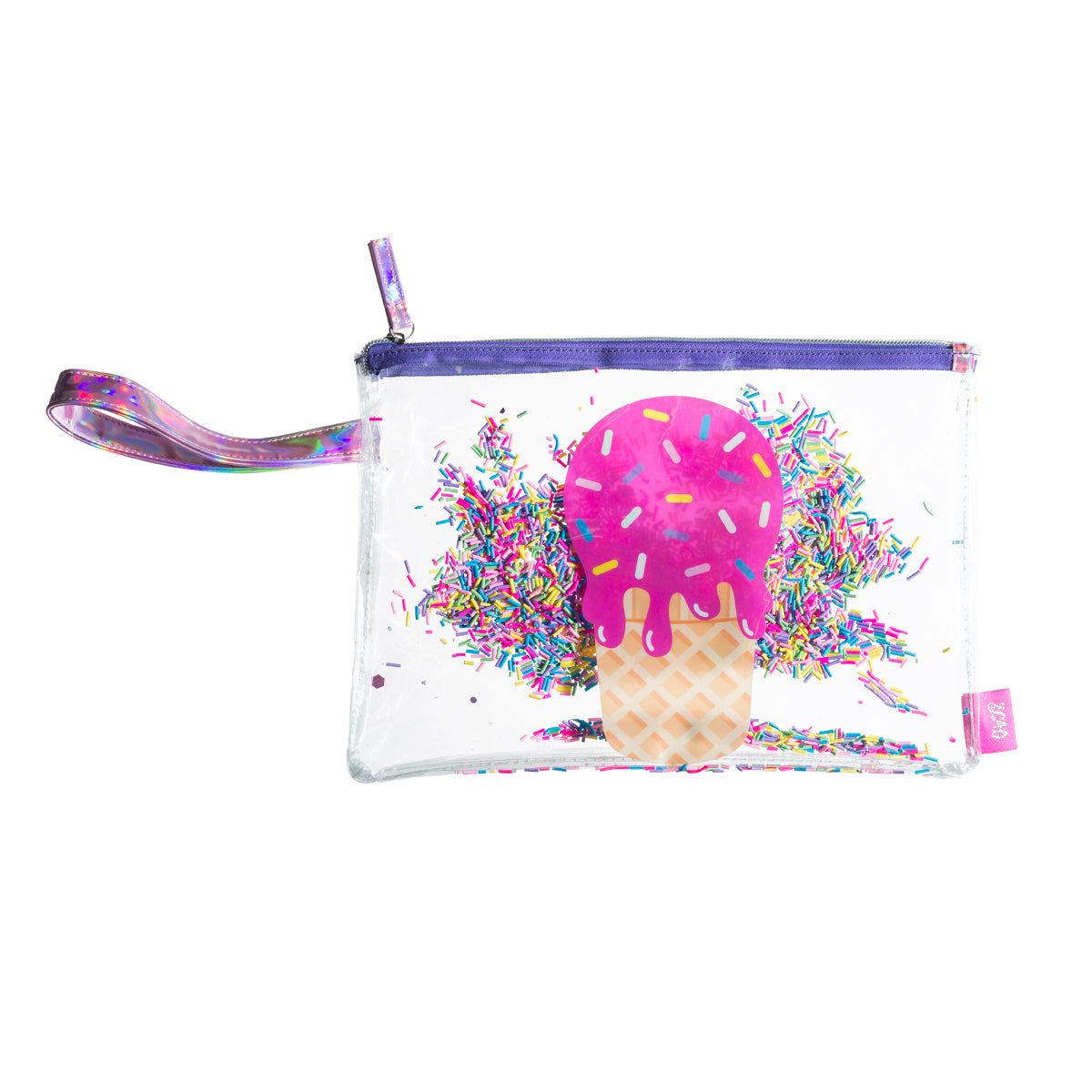 Zippered Bikini Bag Tote – Waterproof Double Layered PVC – Holographic Wrist Strap – Dripping Ice Cream & Sprinkles Design - Bizzy Lizzy
