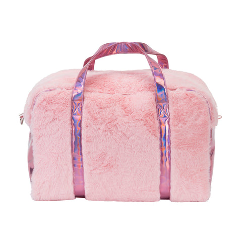 Girl's Fabuluxe Weekender – Pink Faux Fur Travel Bag for Sleepovers & Weekend Getaways - Bizzy Lizzy