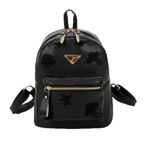 Girls's Designer Backpack; Embossed Black - Bizzy Lizzy